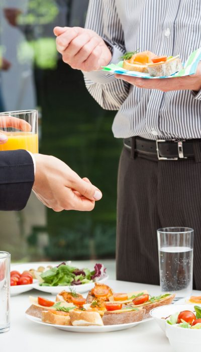 22657276 - business colleagues talks during lunch, outdoor
